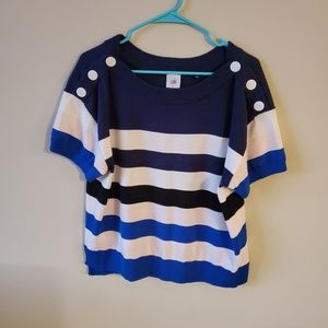 Cabi Womens Striped Short Sleeve Sweater